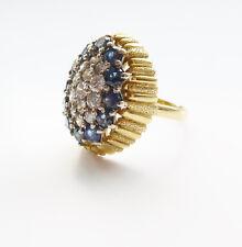 Fantastic Textured Sapphire Diamond 18K Gold Cocktail Ring Grima Weir Packard