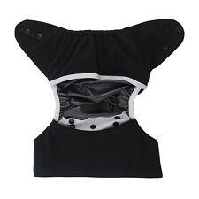 Baby Cloth Diaper Nappy Reusable Washable Pocket Microfleece PUL Black