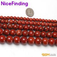 "Natural Red Jasper Stone Round Beads For Jewelry Making Gemstone 15""  2mm-16mm"