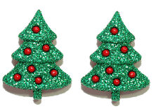 BRIGHT GREEN & RED GLITTERY CHRISTMAS TREE HOLIDAY STUD EARRINGS (H030)