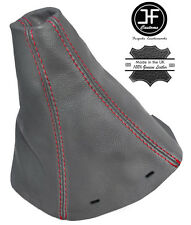 RED STITCH  FITS SAAB 93 9-3 SS 2003+ GEAR GAITER GREY REAL LEATHER