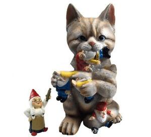 Cats Eat Dwarfs Statue Garden Ornament Art Resin Craft Landscaping Yard Sculpt