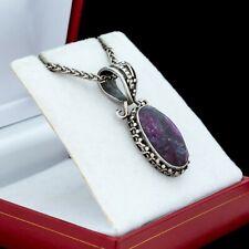 Antique Vintage Mid Century 925 Sterling Silver Byzantine Bali Sugilite Necklace