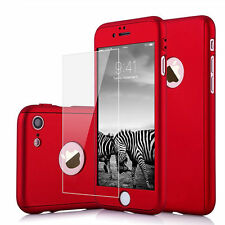 Hybrid 360° Ultra thin Hard PC Case +Tempered Glass Skin Cover For iPhone 7 4.7""