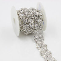 1 Yd Bridal Dress Clear Rhinestone Chain Crystal Trimming Sewing Craft Applique