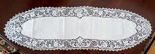 "New White Handmade CROCHET/Embroidered LACY runner 14.5"" x 48"""