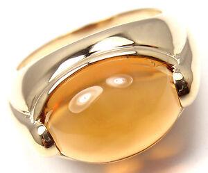 Authentic! Bvlgari Bulgari 18k Yellow Gold Large CItrine Band Ring