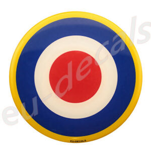 3.50inc 90mm RAF Yellow ring 3D Decal Domed sticker car truck suv boat UK flag