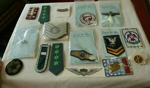 LOT Vintage Military Pins Patches Wings Ribbons Eagles Of War Insignia Decals NR