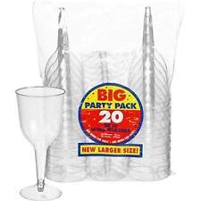 Amscan 20: Clear Plastic Wine Glasses 295ml