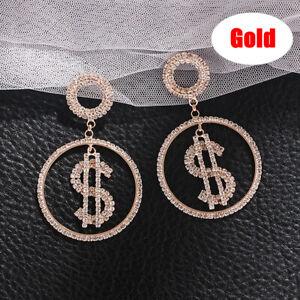 Luxury Rhinestone Dollar Money Pendant Earrings Crystal Round Drop Jewe C❤