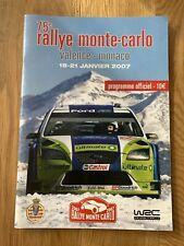 WRC 2007 RALLY MONTE CARLO 18-21 JANUARY OFFICIAL PROGRAMME RALLY MEMORABILIA