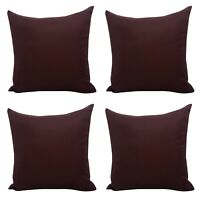 Set of 4 - Plain Aubergine Dark Wine Purple Cushion Covers 18x18""