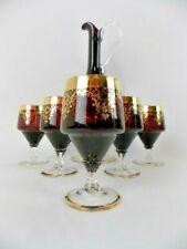 Bohemia Crystal Decanter & 5 Glasses Deep Purple Gold Filigree Accent Stunning