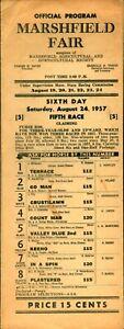 1957 Horse Racing Program Marshfield FAIR Mass  Closed & Torn