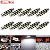 10PCS 28mm T6.3 4014SMD 6 LED White Sun Visor Vanity Mirror Light Bulbs 12V DC