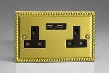 VARILIGHT 2-gang 13a Unswitched Plug Socket 2 5v DC 2100ma USB Charging Ports