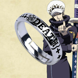 Anime One Piece Trafalgar Law Adjustable Ring S925 Sliver Cosplay Prop Gift