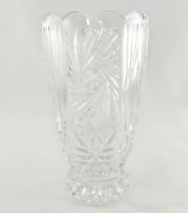 Vintage Lausitzer Handcut 24% Lead Crystal Footed Vase with Scallop Edged Rim