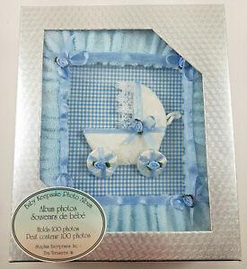 Baby Keepsake Photo Album Blue Carriage 100 photos Fabric Cover French HQ Unisex