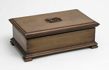 Antique Mahogany Wood Arts & Crafts Work Box with Tray and Carved Initials