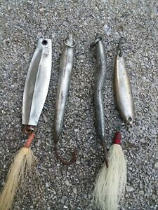 Vintage 2oz Jigs Lot of 4,Saltwater Lures,Striper Lures,Bluefish Lures