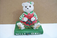 Holly Beary Christmas Teddy Bear Sitting On Book Figurine By Hermitage Pottery