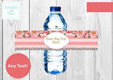 6 Baby Shower, Wedding, Hen Night, Floral, Personalised Water Bottle Wrappers