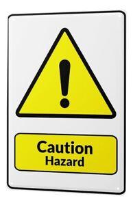 Tin Sign Warning Caution Hazard exclamation point symbol black yellow triangle