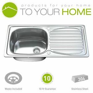 Dihl 1002 1.0 Single Bowl Stainless Steel Kitchen Sink, Drainer & Waste