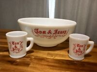 Vintage Mid-Century McKee 50's 60's Milk Glass Tom & Jerry Bowl Cups for Two
