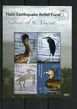St Vincent & Grenadines 2010 MNH Seabirds 4v M/S Haiti Relief Overprint Pelican