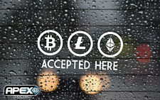 Crypto Accepted Here - Pay - Bitcoin Litecoin Shop Payment Sticker - WHITE