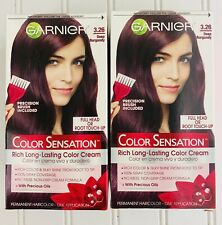 2 Garnier Color Sensation Long Lasting Color Cream 3.26 Deep Burgundy New