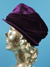 FLAPPER 1920'S ROYAL PURPLE SILK VELVET & SILK SATIN CLOCHE HAT