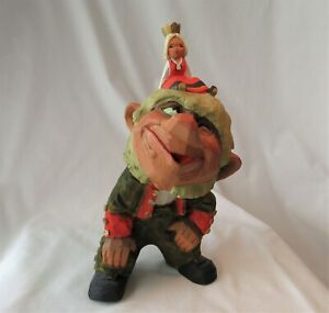"""VTG Henning Of Norway Hand Carved Wooden Troll w/ Woman Princess Large 11"""""""