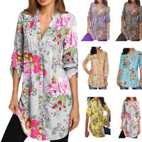 Women's Ladies Floral Casual Loose Long Sleeve Blouse Tops T-Shirt Plus Size
