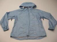 SIERRA DESIGNS Women's Size M Packable Light Weight Blue Hooded Rain Jacket
