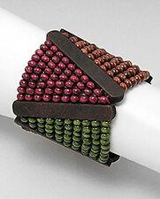 "STYLISH WOOD Beads Bracelet NEW 60mm wide 6-6.5"" Wrist Ret $69 earth tones"