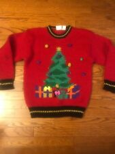 Far & Near Womens MEDIUM Vintage Ugly Christmas Sweater Red Gold Tree Pom Poms