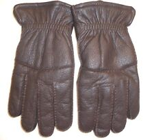 Men's Faux Shearling Lined Genuine Leather Gloves,Brown, Large, Style BGB