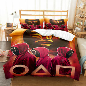 Squid Game Design Bedding Set Duvet Cover and Pillowcase Single Double King