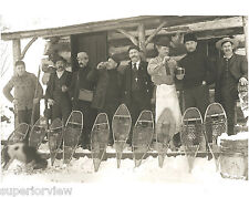 Old Time Snowshoe Hunting Photo Vintage Snowshoes Beer Drinking 1890 MI MUST SEE