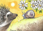 ACEO Limited Edition - Hedgehog print of Original Pen and Ink by Monica Minto