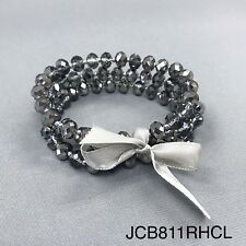 Bohemian Style Silver and Black Toned Small Beads Stretch Bangle Bracelet Set