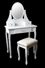 ALAN Schminktisch Frisiertisch Kosmetiktisch mit Spiegel & Hocker Vintage Weiß