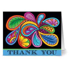 24 Note Cards - Paisley Floral Thank You Blue - Plum Purple Envs