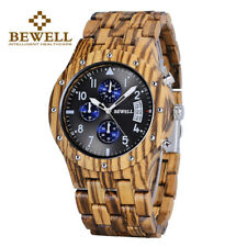 BEWELL Luxury Men's Quartz Wood Watch Date Chronograph Wooden Watches Xmas Gifts