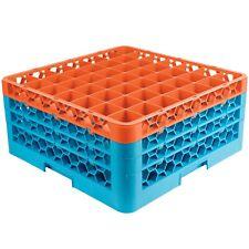 Carlisle OptiClean 49 Compartment Glass Rack Rg49-3C412 Orange/Blue