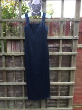 Debut Navy And Black Satin And Lace Dress. Size 12